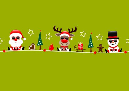 Card Santa Reindeer And Snowman With Sunflowers And Icons Light Green  イラスト・ベクター素材