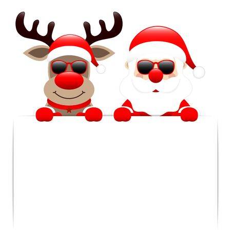 Reindeer And Santa Claus Sunglasses Holding White Label