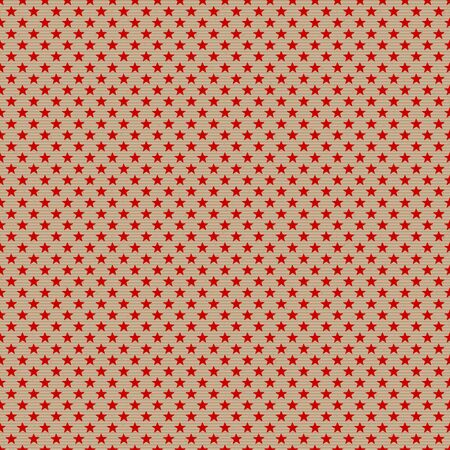 Seamless Pattern Little Red Stars On Brown Paper