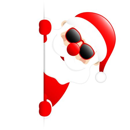 Santa Sunglasses On The Right Side Of Vertical Banner