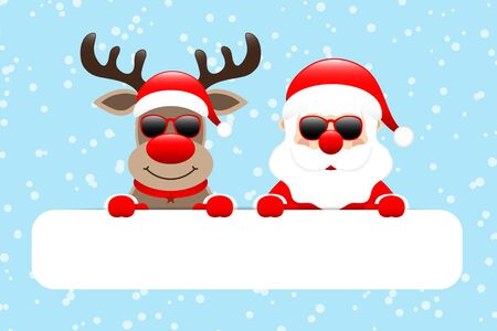 Reindeer And Santa Sunglasses Gift Card Snow Light Blue