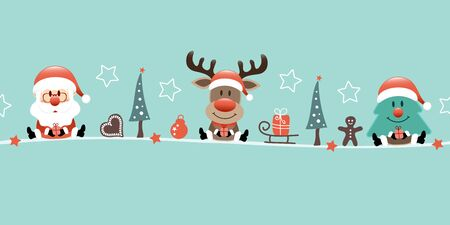 Banner Santa Reindeer And Tree With Icons Turquoise  イラスト・ベクター素材