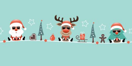 Banner Santa Reindeer And Tree With Sunglasses And Icons Turquoise