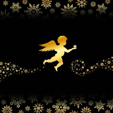 Flying Angel With Christmas Star Snowflakes Background Black Gold Çizim