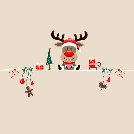 Square Christmas Reindeer And Icons Beige Background  イラスト・ベクター素材