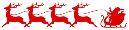 Red Straight Christmas Sleigh Santa And Four Running Reindeer
