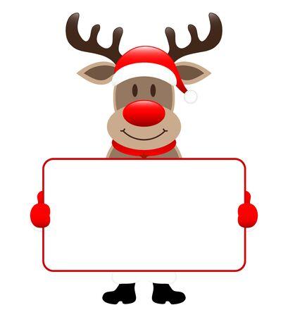 Standing Reindeer Holding Horizontal White Label