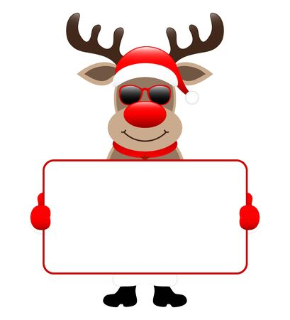 Standing Reindeer Sunglasses Holding Horizontal White Label