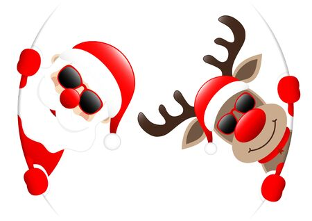 Santa And Reindeer Sunglasses Looking Inside Round Banner