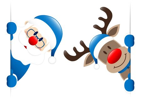 Big Blue Santa And Reindeer Inside Banner