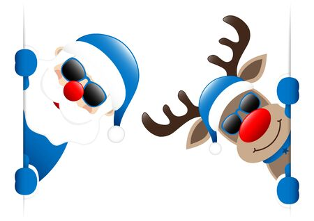 Big Blue Santa And Reindeer Sunglasses Inside Banner