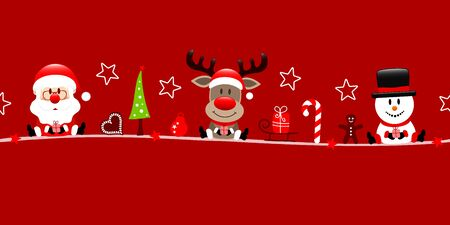 Banner Santa Reindeer And Snowman With Icons Red