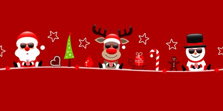 Banner Santa Reindeer And Snowman With Sunglasses And Icons Red