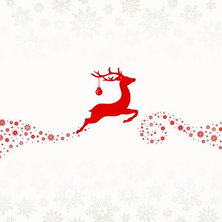 Red Reindeer With Bauble Flying To The Left Snowflakes Beige  イラスト・ベクター素材