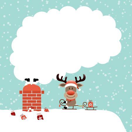 Santa Stuck In Chimney And Reindeer Sitting On Sleek Smoke Snow Turquoise
