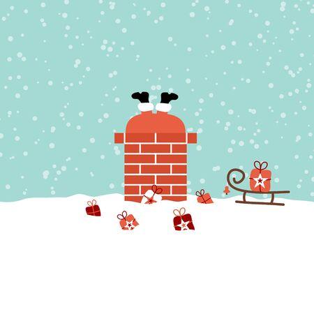 Santa atascado en la chimenea en el techo de nieve turquesa