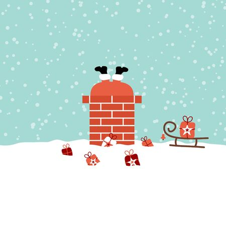 Santa Stuck In Chimney On Roof Snow Turquoise