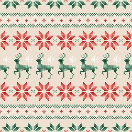 Seamless Pattern Embroidery Norwegian Style Red Green White Beige