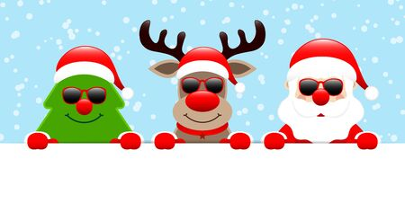 Christmas Tree Reindeer And Santa Claus Sunglasses Banner Snow Blue