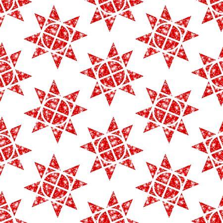 Seamless Pattern Big Red Christmas Stars Glitter