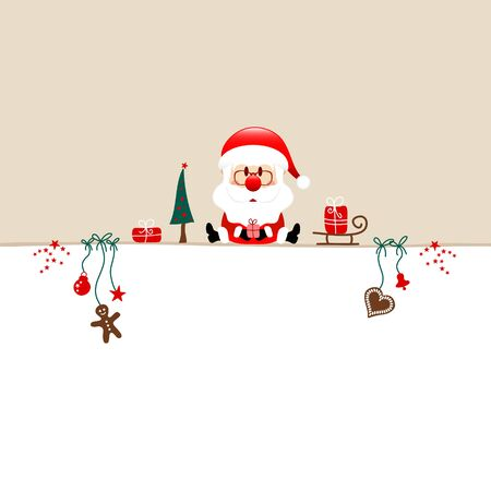 Square Christmas Santa And Icons Beige White