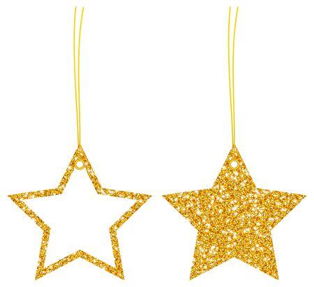Two Hangtags Golden Glitter Stars Filled And Frame Illusztráció