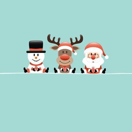 Square Christmas Card Snowman Reindeer And Santa Turquoise Фото со стока - 131452504