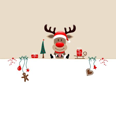 Square Christmas Reindeer And Icons Beige White