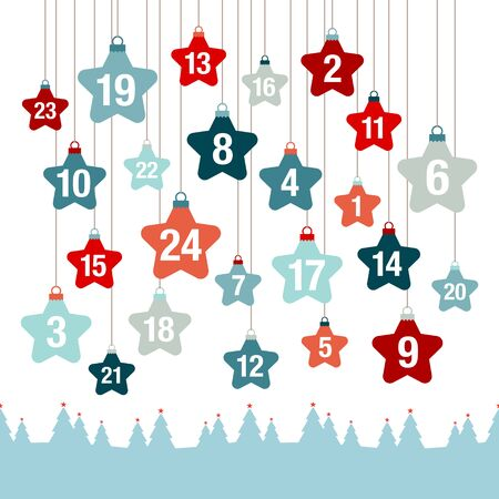 Advent Calendar Hanging Stars Above Forest Red And Blue