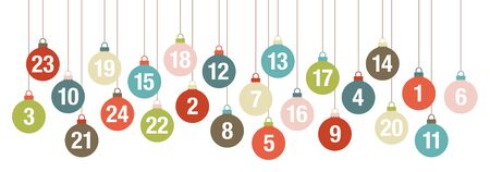 Banner Advent Calendar Hanging Christmas Balls Retro Colors 版權商用圖片 - 131452513