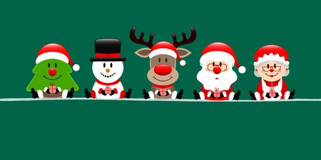 Banner Christmas Tree Snowman Reindeer Santa And Wife Dark Green