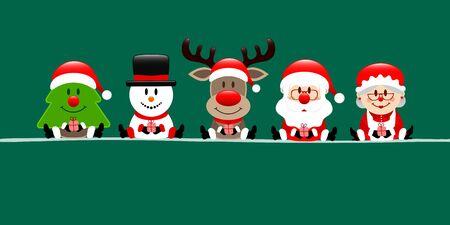 Banner Christmas Tree Snowman Reindeer Santa And Wife Dark Green