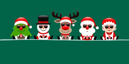 Banner Christmas Tree Snowman Reindeer Santa And Wife Sunglasses Dark Green