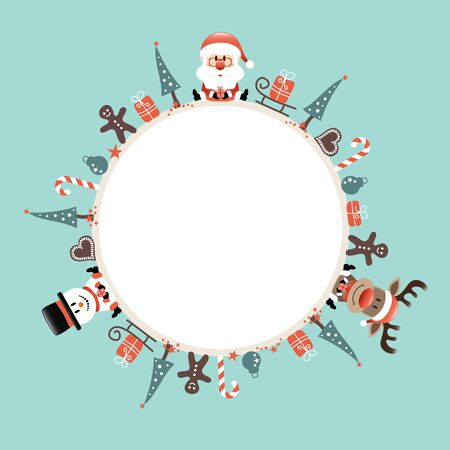 Round Christmas Frame Santa Reindeer And Snowman Icons Turquoise