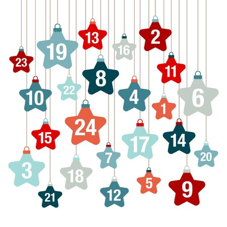 Square Advent Calendar Hanging Stars Red And Blue 版權商用圖片 - 131452588