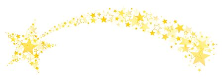 Curved Falling Star With Tail Out Of Big And Little Stars Gold Illusztráció