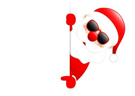 Santa Sunglasses Horizontal Banner Right Showing On Label Vettoriali