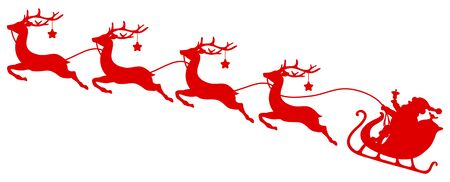 Silhouette Red Christmas Sleigh Santa And Four Flying Reindeer With Stars Ilustração