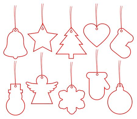 Set Of Ten Christmas Hangtags White With Red Frame