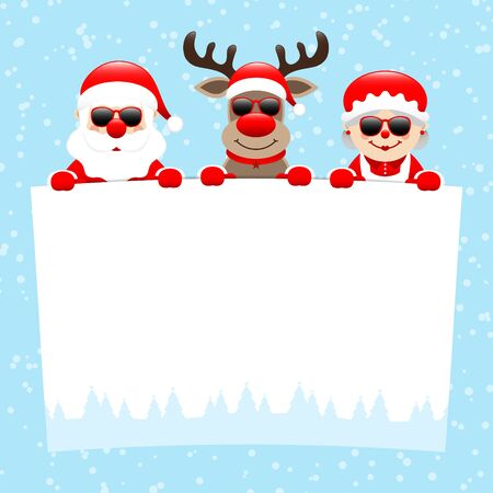 Santa Reindeer And Wife With Sunglasses Holding Wish List Snow Blue Illustration