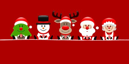 Banner Christmas Tree Snowman Reindeer Santa And Wife Red Illustration