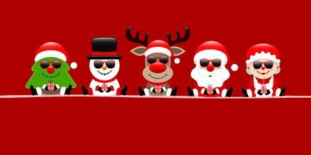 Banner Christmas Tree Snowman Reindeer Santa And Wife Sunglasses Red