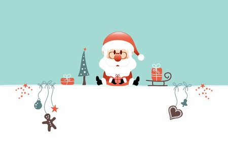 Sitting Christmas Santa Claus And Icons Turquoise White