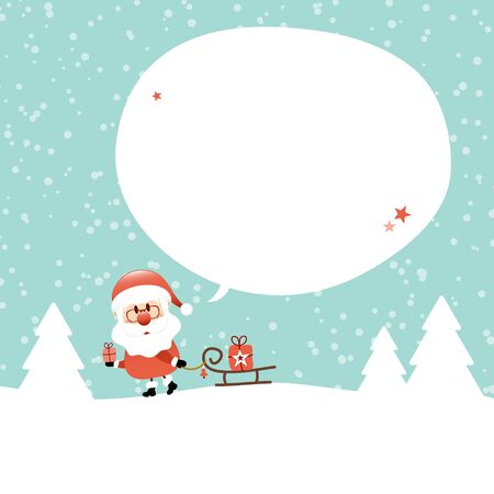 Santa Claus With Sleigh In Forest Speech Bubble Snow Turquoise
