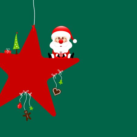 Square Santa Claus Sitting On Star With Dark Green Icons Illusztráció