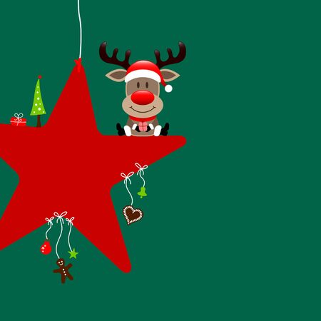 Square Reindeer Sitting On Star With Dark Green Icons