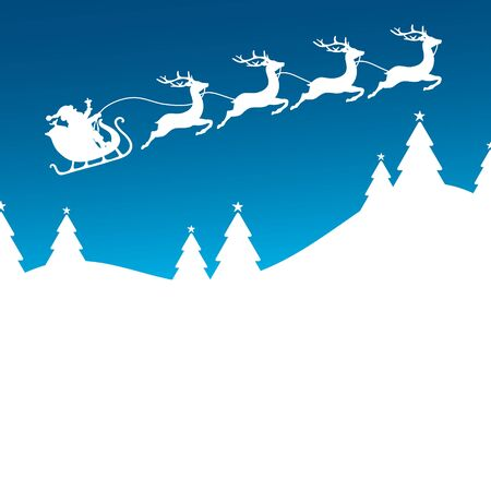 Christmas Sleigh Flying To The Right Forest Blue Background