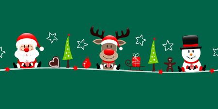 Dark Green Banner Santa Reindeer And Snowman With Icons