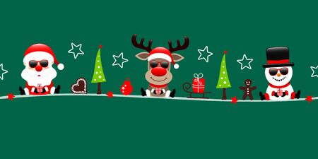 Dark Green Banner Santa Reindeer And Snowman With Sunglasses And Icons