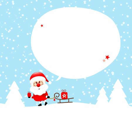 Santa Claus With Sleigh In Forest Speech Bubble Snow Blue